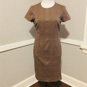 David Warren Petite size 4 brown plaid dress